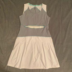 Athleta White Grey Bob and Weave Tennis Dress S